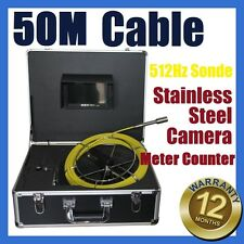 50M Snake Cable Sewer Drain Pipe Wall Camera w 512HZ Locator Sonde Meter Counter