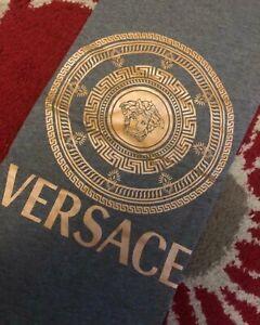 Versace Medusa Logo 100% Cotton T-Shirt, Size Large, In Grey/Gold