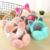 Girls Fluffy Earflap Ear Warmers Cat Ears Winter Warm Earmuffs for Cold Weather