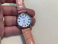 Orvis Wristwatch Sailing Multi-color Flag Face Pink Band Quarts Watch
