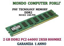 2GB (1X2GB) MEMORIA / RAM PNY DDR2 PC2 6400U 2RX8 800MHZ NO ECC ALTA DENSITÀ