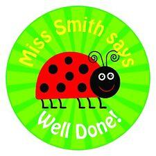 80 Pegatinas De Recompensa principal/profesor personalizado para los alumnos Verde Ladybird