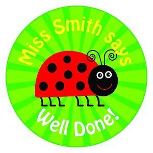 80 Personalised Teacher / Parent reward Stickers for Pupils Green Ladybird