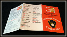 1978 MILWAUKEE BREWERS MASTER CHARGE BASEBALL POCKET SCHEDULE FREE SHIPPING