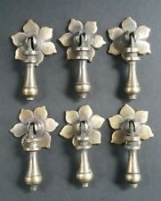 "6 Antique Tear Drop Pendant Brass Handle Pulls w. screws Floral Back 2 1/2"" #H4"