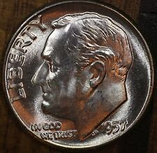 1957 P Roosevelt Dime CH BU LUSTER! 90% Silver US Coin