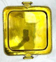 "Vintage MCM Brass Gold Tone Ornate 12""X 12""  Vanity Perfume Tray"