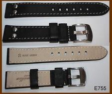 Uhrband Echtleder Armband genäht Pilot Vintage Edelstahl-Nieten schwarz Gr. 22mm