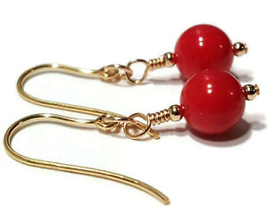 9ct Gold Red Coral Earrings, Natural Gemstone Dangle Drop Jewellery for Women