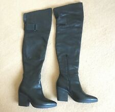 Vic Matie Black Italian Leather Thigh High Boots Block Heels Nice Condition Sz 5