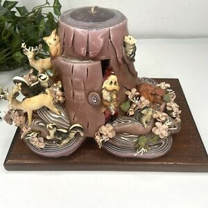 Vintage Dipped Hand Carved Layered Candle Dwarf & Animal Scene