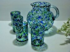 """GORGEOUS Hand Blown 10"""" PITCHER & FOUR GLASSES  Raindrops of COBALT~GREEN~WHITE"""