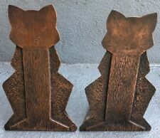 PAIR OF ARTS & CRAFTS FOLK ART FUNKY COPPER CAT BOOKENDS