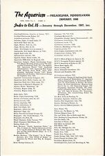 """[54861] 1947 """"THE AQUARIUM"""" INDEX TO VOLUME 16 (JANUARY thru DECEMBER 1947)"""