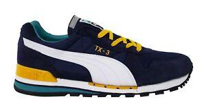 Puma TX-3 Mens Trainers Lace Up Shoes Blue White Leather Textile 341044 54 B40D