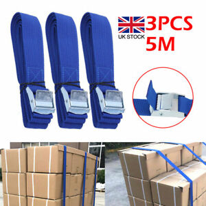 3Pcs Quick Release Cam Buckle Luggage Tie Down Roof Rack Cargo Lashing Straps 5M