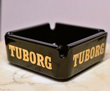 Vintage Tuborg Beer Pub Ashtray | Black Milk Glass | New Old Stock