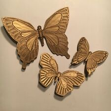 (3) kitschy BUTTERFLIES wall decor-VINTAGE 1960s-USA thick PLASTIC syroco dart