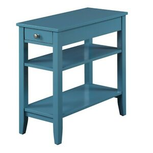 Convenience Concepts American Heritage Three Tier End Table, Blue - 7107159BE