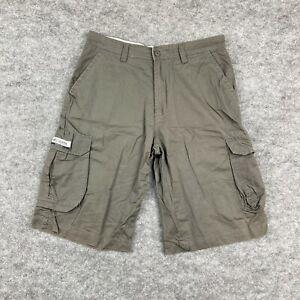 Columbia Mens Cargo Shorts Size Medium W32 Khaki Green Pockets Zip 138.01