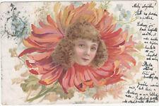AK Kinderkopf / Frauenkopf in Blume , Metamorphose , Blumenengel