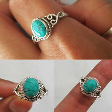 Vintage Women Men Charm 925 Silver Turquoise Wedding Engagement Ring Size 8