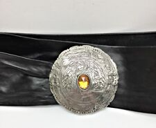 Vntg LIZ CLAIBORNE Black Leather Belt Engraved Metal Closure Amber Glass Stone