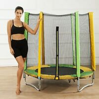 5FT Kids Trampoline With Enclosure Net Jumping Mat And Spring Cover Padding Gift