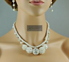 NEW Wedding Double Strand White Pearl & Crystal Necklace and Earring set. 21""