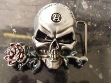 Nuevo Hebilla de cinturón cráneo & Rose