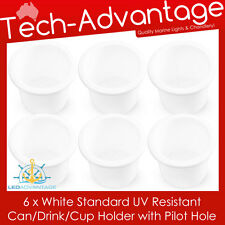 6 X STANDARD SIZE RECESSED WHITE DRINK/CUP/CAN/STUBBIES HOLDER MARINE BOAT YACHT