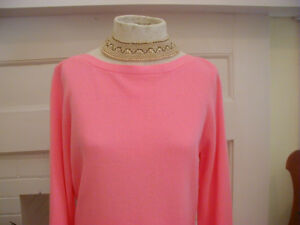NWT PECK & PECK Fall 100% Cashmere Boatneck Sweater Peach LARGE Perfect Gift!