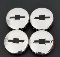 "(4) 2014-2020  CHEVY POLISHED CENTER CAPS BLACK BOWTIES  3.25"" 83mm 18""  TO 22"""