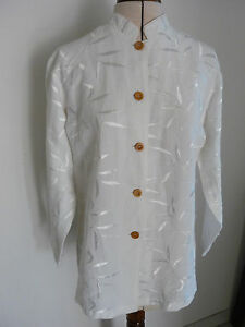 CHEMISE/ TUNIQUE BLANCHE LIN / VISCOSE- FEMME TAILLE 1- MADE IN FRANCE-CINOCHE