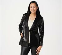 Lisa Rinna Collection Stretch Button Front Sequin Blazer Black  Size 10 NEW