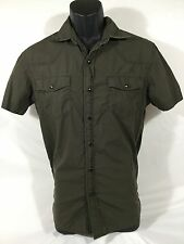 CONVERSE ONE STAR mens S/S Cotton Solid Brown Western Pearl Snap Shirt sz S EUC
