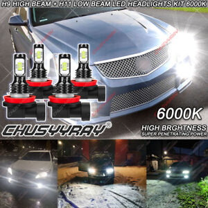 H9 H11 LED Headlight Bulbs Hi/Lo Beam 6000K 3570 For Cadillac CTS CT-S 2008-2014