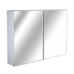 Double Door Wall Mounted Mirror Cabinet Modern Bathroom Storage Furniture Unit