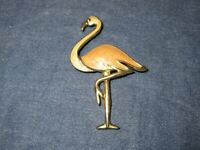 Vintage Large FLAMINGO Gold Tone Metal & Pink ENAMEL Pin/Brooch 3 x 1 1/2 Inches