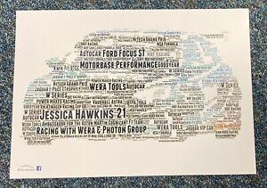 2021 BTCC Jessica Hawkins No.21 Racing with Wera & Photon Word Art ~ A4 Poster