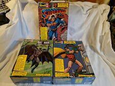 Revell 1/8 Batman, Robin, And Superman Model Kit Lot. FACTORY SEALED