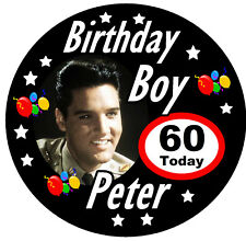 ELVIS - / PERSONALISED FUN BIRTHDAY BADGE, NAME AND AGE - PARTY / NEW / GIFTS