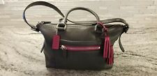 Coach Legacy Pebbled Leather Shoulder Bag Graphite and Berry silver hardware
