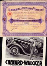 Automobiles Chenard & Walcker  1937 France + original vintage ad 1936