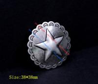 10X Vintage Silver Floral Big Texas Star LeatherCraft Saddles Conchos Screw Back