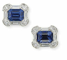 Blue Emerald Baguette Cuff Links For Men Jewelry New Gift 14k White Gold Cz