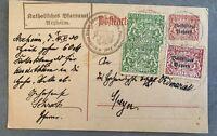"""Postkarte, Volksstaat Bayern,Ganzsache+Briefmarken, Dienstmarken, """"Speyer"""""""