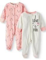 Gerber Baby Girl Pajama Sleep N Plays Peach ~ Size 0-3 Month ~ I Love You
