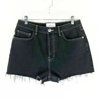 New Current/Elliott Black Denim Shorts Sz 30 Ultra High Waist
