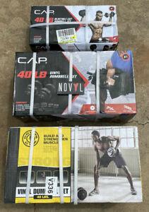 CAP & Gold's Gym Cast Iron or Vinyl 40 lb Adjustable Dumbbell Set (Choose Set)